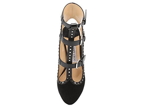JIMMY CHOO Women's Black Suede Leather High Heel Sandals Shoes - Size: 6.5 US