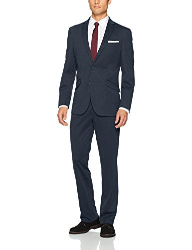 Kenneth Cole REACTION Men's Knit Slim Fit Suit with Hemmed Pant, Navy 42 Regular