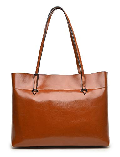 Covelin Women's Handbag Genuine Leather Tote Shoulder Bags Soft Hot Brown