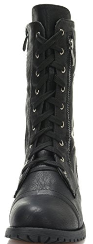 DREAM PAIRS Women's Terran Black Mid Calf Built-in Zipper Wallet Pocket Combat Boots Size 9 B(M) US