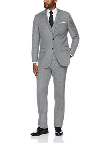 Buttoned Down Men's Tailored Fit Super 110 Italian Wool Suit Jacket, Light Grey, 46 Regular