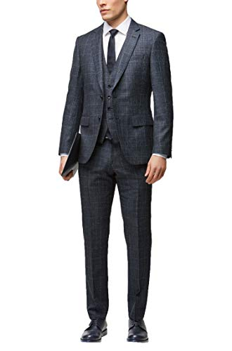 Hugo Boss Men's Huge/Genius WE' Slim Fit Blue Windowpane Wool Linen 3-Piece Suit, 38R