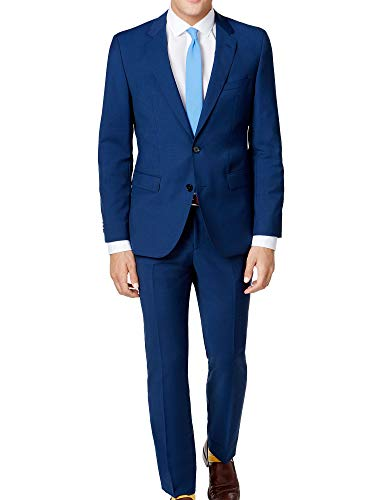 Hugo Boss 2 Piece Set Slim Fit Men's Suit Wool C-Jeffery/C-Simmons Micro Check Blue Retail Price $695.00