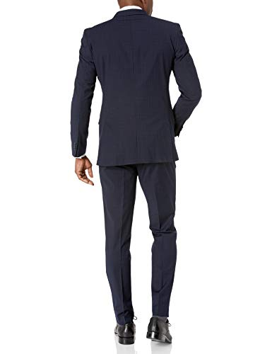 Kenneth Cole REACTION Men's Slim Fit Performance Suit with Stretch, Navy Grid, 40 Regular