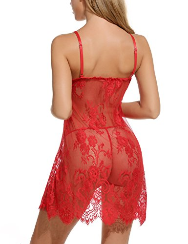 Avidlove Women's Lace Babydoll Floral Nightgown G-String (Red)