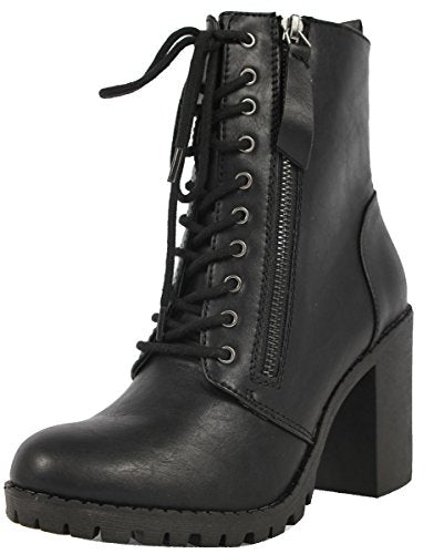 SODA Women's Malia Faux Leather Lace Up Chunky Ankle Boot, Black, 5.5 M US