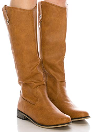 CALICO KIKI Women's Knee High Boots - Faux Leather Side Zip up with Low Heel (11 US Tan PU)