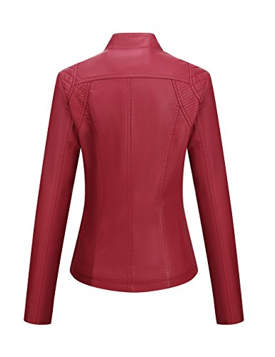 Bellivera Women's Faux Leather Fall Casual Short Jacket Women Leather jacket