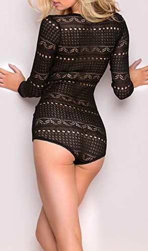 AdoreShe Womens Long Sleeve Lingerie Sexy Bodysuit V-Neck Teddy Babydoll Sleepwear(LP002,Black,XL)