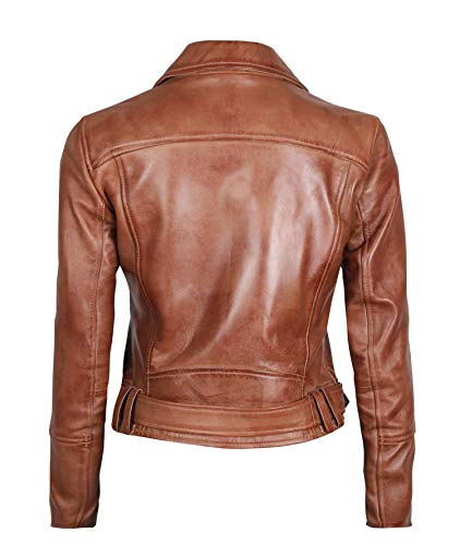 Brown women leather jacket - Genuine Leather Motorcycle Jackets Women| L