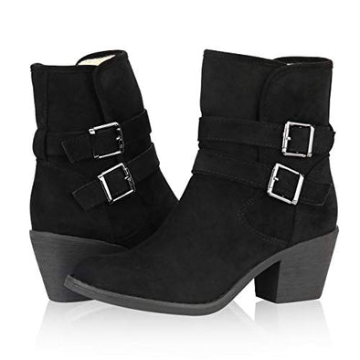 Yeviavy Women's Ankle Boots - Western Booties Low Heel Foldable Cuff Side Zipper and Buckle Straps Design Lynn