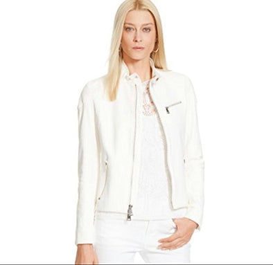 Captain Cory Womens White Bomber Lambskin Genuine Leather Jacket, Biker Jacket