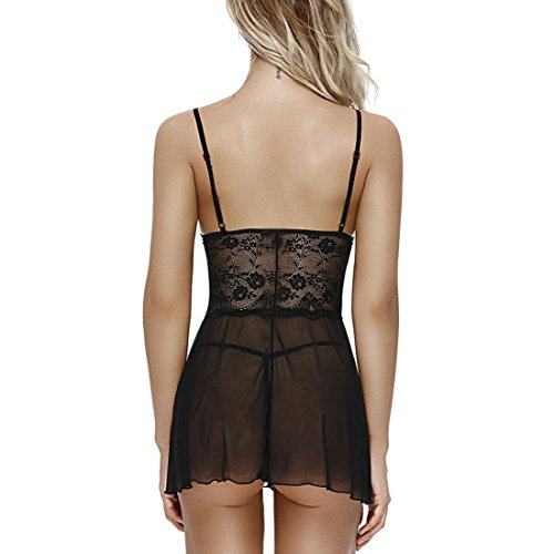 Ruzishun Sexy Lace Lingerie for Women Babydoll Bridal Lingerie Set(Black,M)