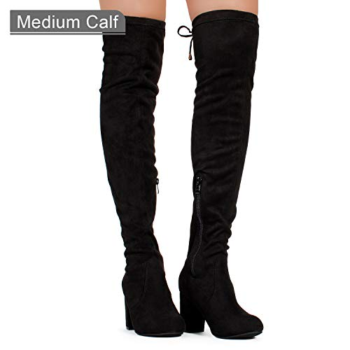 Women's Over The Knee Block Chunky Heel Stretch Boots Black SU (7)