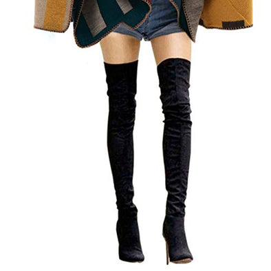 Shoe'N Tale Women Over The Knee High Stretchy Leather Thigh high Snow Boots