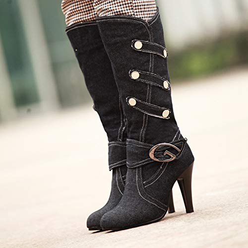 Btrada Women Fashion Knee-High Boot Casusal Denim High Spike Heels Closed Toe Pumps Rubber Office Shoes
