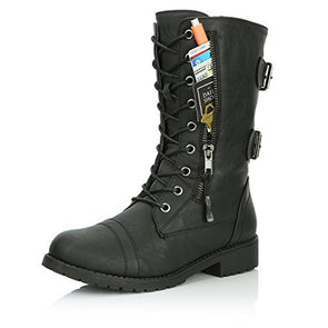 DailyShoes Women's Ankle High Lace up Military Combat Mid Calf Wallet Pocket Boots