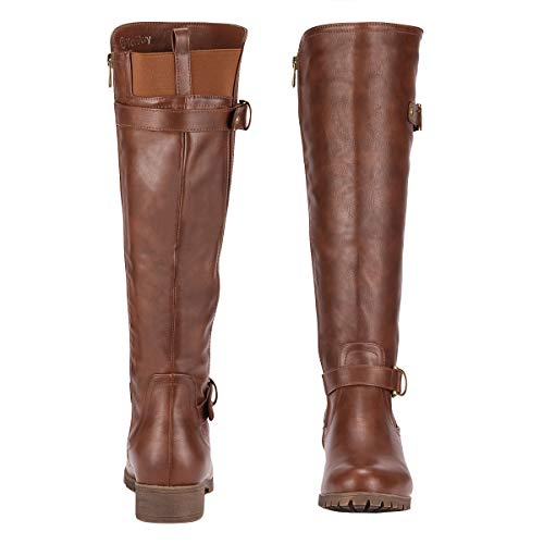 Yeviavy Women's Knee High Boots - Riding Boots Low Heel Side Zipper Buckles and Stretchy Elastic Winter Boots Liz