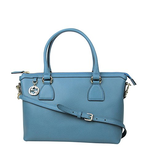 Gucci GG Charm Teal Blue Leather Medium Convertible Straight Bag With Strap 449659 4618