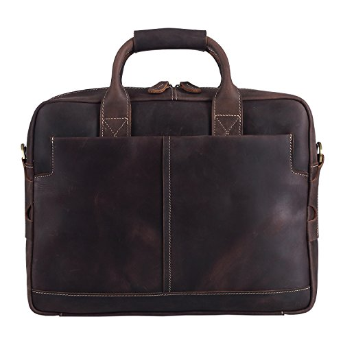 Polare Men's Men's Briefcase Shoulder Bag Sturdy Genuine Leather 16'' Laptop