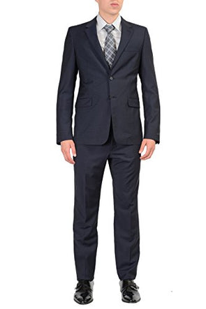 Prada 100% Wool Navy Checkered Two Buttons Men's Suit US 40R IT 50R
