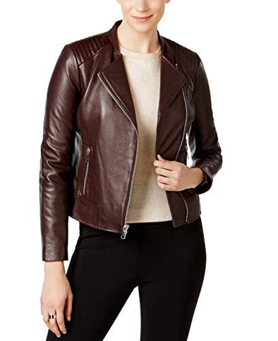 Marc New York Womens Selena Leather Moto Jacket Burgundy L