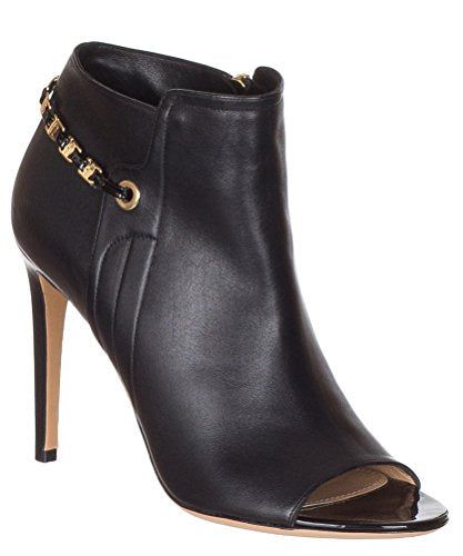 Salvatore Ferragamo Women's Mako Leather Chain Trimmed Peep Toe Ankle Boots Shoes