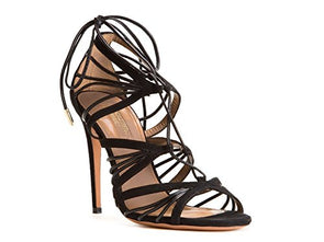 Aquazzura Women's Black Suede Leather High Heel Sandals Shoes - Size: 8.5 US