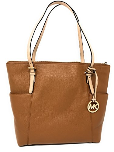 Michael Kors Jet Set East West Top Zip Leather Tote (Acorn)