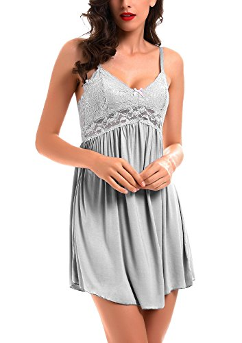 Women Lace Lingerie Sleepwear Chemises V-Neck Full Slip Babydoll Nightgown Dress Gray S