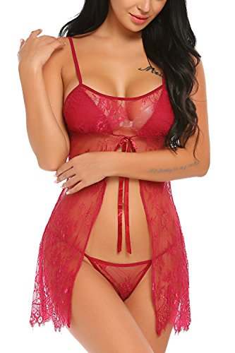 Kissgal Women Lingerie Lace Babydoll Strap Chemises Mesh Sleepwear Rose Red L