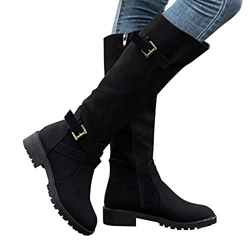 Gyoume Over Keen Boots Women Calf Biker Boots Shoes Buckle Boots Flat Wedge Boots Shoes Zip Punk Military Combat Boots