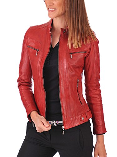 Leather Planet Women's Lambskin Leather Bomber Biker Jacket Small Red