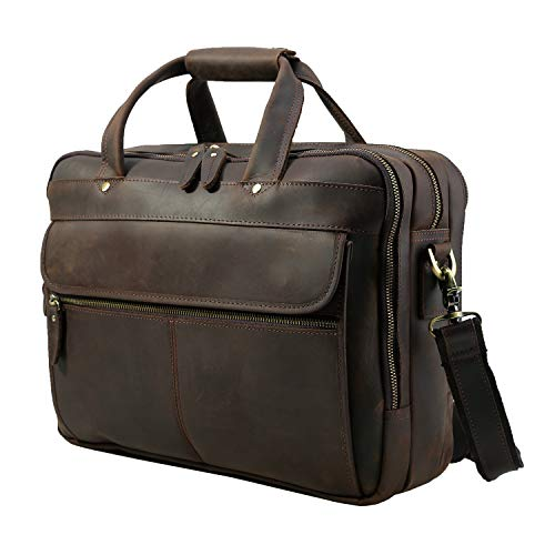 "Polare Men's Thick Full Grain Leather 15.7"" Laptop Business Briefcase"