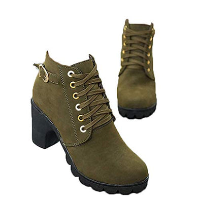 Fay Waters Women's Buckle Strap Lace Up Snow Boots Block Super High Heel Platform Ankle Booties