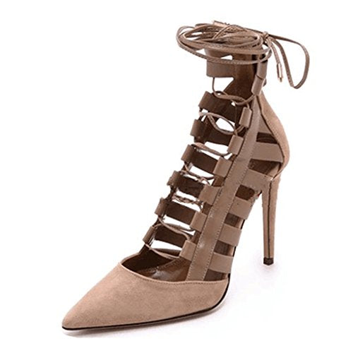 Kitzen Women's High Heels Roman Style Cross Straps Pointed Sandals Peep Toe Ankle Platform Shiny Buckles Evening Party Pump Leather Court Shoes,EU41