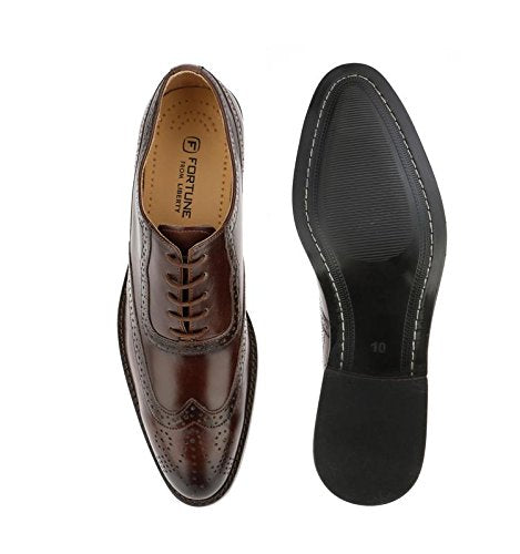 Liberty Men's Brogue Perforated/Burnished Toe Handmade Leather Wing-tip Lace up Oxford Dress Shoes