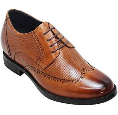 CALTO Men's Invisible Height Increasing Elevator Shoes - Brown Leather Lace-up Lightweight Wingtip Formal Oxfords - Y4103-3 Inches Taller