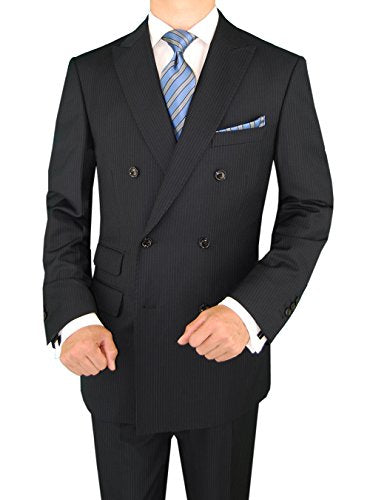 DTI GV Executive Italian Men's Suit Set 2 Piece Double Breasted Jacket Stripe