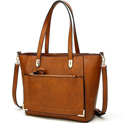 YNIQUE Women Top Handle Handbags Satchel Purse Tote Bag Shoulder Bag, Brown, Medium