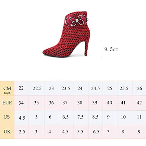 Truisa and Winter Boots Shorts with Pointed High Heels Sexy Fashion Red Winter High Heels Green (Color : Red, Size : 34)