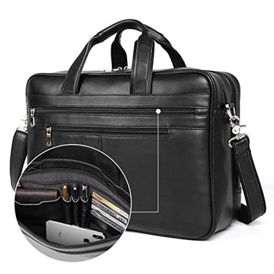 Augus Business Travel Briefcase Genuine Leather Duffel Bags for Men Laptop Bag fits 15.6 inches Laptop (Black)