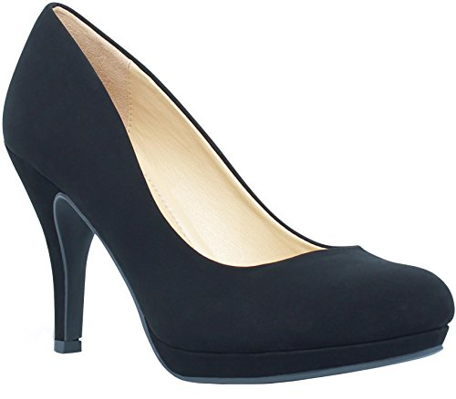 MARCOREPUBLIC Rome Memory Foam Cushion Womens Low Platform Heels Comfort Pumps - (Black Nubuck) - 8