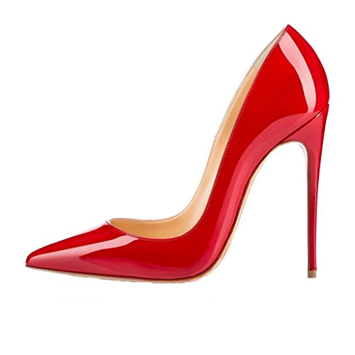 VASHOP Women's Pointed Toe Stiletto Sky High Heel Pumps Plus Size for Wedding Party Dress,Red/11.5