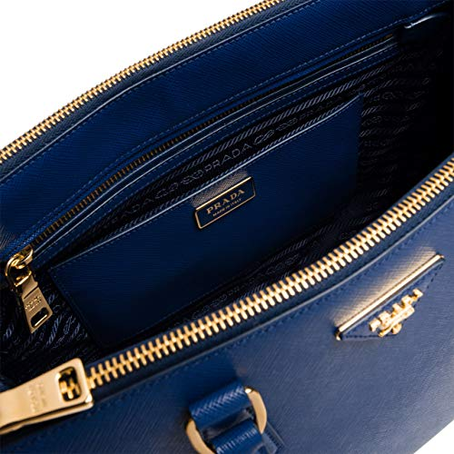 LOL-Prada Galleria Leather Solid Handbag Shoulder Bag (Blue)