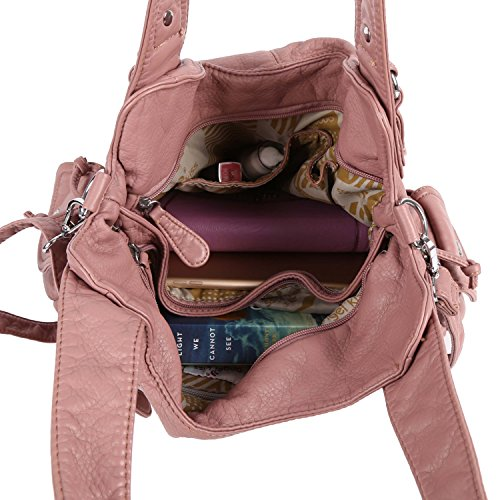 Angelkiss Women Top Handle Satchel Handbags Shoulder Bag Messenger Tote Washed Leather Purses Bag (Pink) …