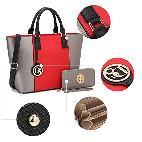 Dasein Women's Designer Large Laptop Top Handle Structured Tote Bag Satchel Handbag Shoulder Bag Purse (6417 Red/Pewter)