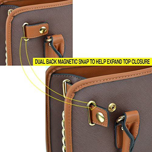 Dasein Women's Designer Padlock Belted Top Handle Satchel Handbag Purse Shoulder Bag With Wallet