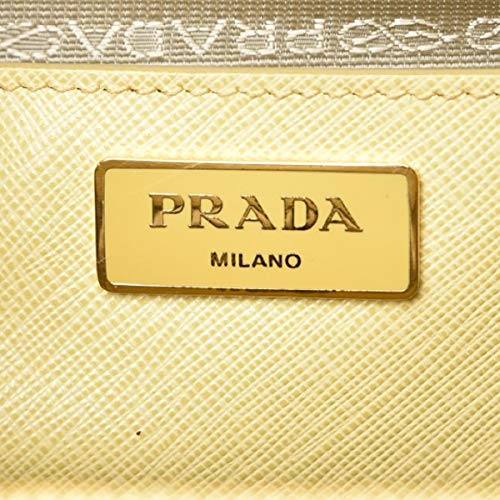 PRADA Saffiano Leather Large Galleria Double Zip Tote Polline Handbag Tote B1786T
