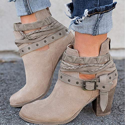 XMWEALTHY Women's Ankle Buckle Booties Vintage Zipper Heels Boots Khaki US 8